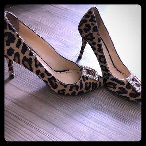 Charlotte Olympia calf hair leopard heel